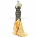Handmade yellow and blue color off shoulder short front and long back long prom dress 2017