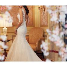 Alibaba Plus Size Lace Kristall Perlen Perlen Irovy Trompete Brautkleid Kleider Meerjungfrau Schnitt