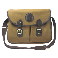 Promotion Fashion Canvas and genuine leather waterproof fishing shoulder bag men