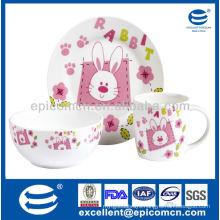 3Pcs porcelain breakfast set BC8049 plate&bowl&mug wholesale