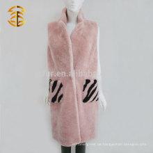 Marke Elegantes Entwurfs-Frauen-Rosa-wirkliches Shearling Schaffell-Lamm-Pelz-lange Weste