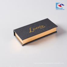 boîte de stockage de colle de livre de cil acrylique d'œil de vis faite sur commande magnétique avec l'estampillage de clinquant d'or