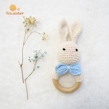 Crochet Bunny Sonajero Mordedor De Madera Para Bebé