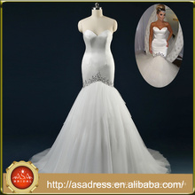 ASAM-05 Real Pictures Sexy Off the Shoulder Sweetheart Beaded Tiered Ruffles Train Mermaid Wedding Dresses
