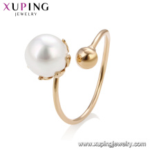 15195 Wholesale graceful ladies jewelry simple design imitation pearl adjustable finger ring