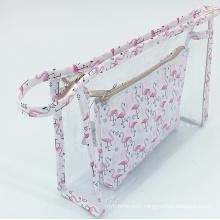 Popular Design Toiletry Travel Bag For Women Transparent Clear PVC Waterproof Makeup Bags Flaming Bird Cosmetic Bag Set