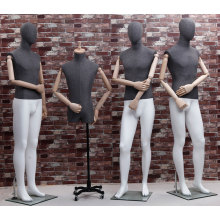 Matte White Top Male Mannequin with Linen Wrapped