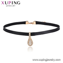 44449 Xuping Jewelry Newly Hot Sales Elegant Leather Choker Necklace With Spoon Shaped