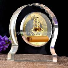 cadeau de cristal trophée promotionnel coquille horloge trophée