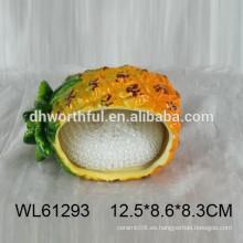 Sostenedor de esponja de cerámica de piña para la cocina