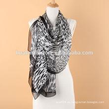 Mantón largo negro atractivo de la gasa del leopardo para las mujeres