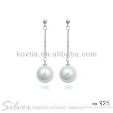 Boucle d'oreille en perle en pierre blanche en forme de 925 boucles d'oreilles en argent