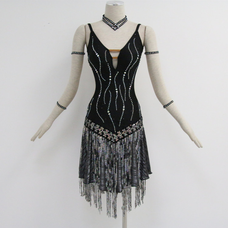 Black Latin Dance Costumes For Competition
