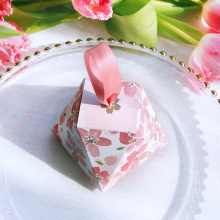 Pink color wedding favors candy box