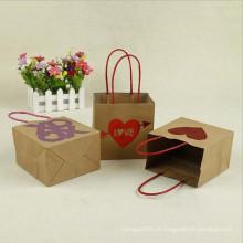 Saco de Kraft de papel de amor personalizado com alça