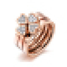 Women′s Lucky Grass Rose Gold Three- in- One Titanium Ring
