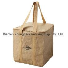 Custom Printed Promotional Reusable Insulated Jute Cooler Bag