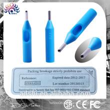 Beauty body art equipment disposable plastic blue tattoo tips, 50pc sterilized tattoo tips