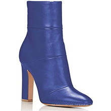 Trendy Women Heels Red Blue Designers Boots Womens Leather Square Heel Woman Office Shoes 2020