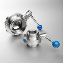 DIN Ss304 316 Válvula de mariposa de acero inoxidable con brida roscada