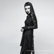 Black Lace Rope Maxi Dress Gothic Style Dinner Dress Transparent OPQ-200 Gothic European Retro Casual Dresses Women Knit Satin