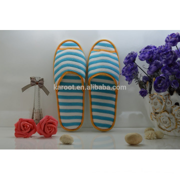 cheap soft personalized open toe stripe hotel slipper