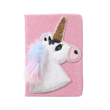 UNICORN FLUFFY SEQUINS NOTEBOOK-0