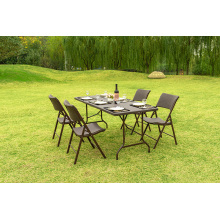 Пластиковый складной столик, длина 183см, ротанг коричневый
