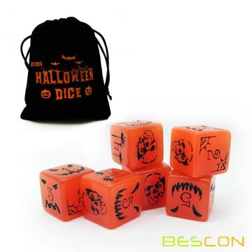 Set of 6 Bescon Luminous Halloween Dice 6 Sides, Glow in Dark 6 Sided Halloween Dice Set in Velvet Pouch