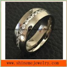 Shineme Jewelry Popular High Quality Zircon Titanium Jewelry Ring (TR1870)