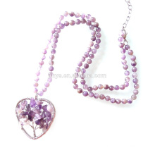 Natural Amethyst Tree of Life Beaded Necklace