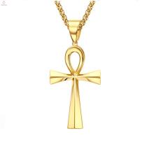Aço inoxidável Jóias De Ouro Do Vintage Egipto Vida Eterna Cruz Pingente Ankh Colar