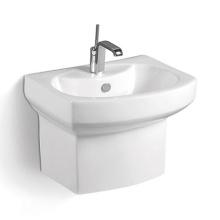 Popular Rectangle Wall Mounted Half Stand Hand Wash Basin Bathroom Basin