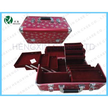Alumínio caso cosmético, impressão flores caso de maquiagem (hx-p560)