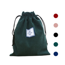 Custom simple printed logo gift bag corduroy drawstring bag