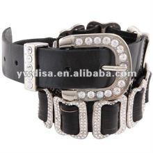 Cinturão de couro genuíno novo com fivela de strass para mulheres