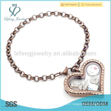 Wholesale price chocolate pearl chain bracelet,floating heart bracelet design