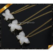 Hottest! ! Fashion Pendant Necklace White Color Druzy 24k Gold Pendant Necklace (CN013)