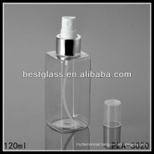 square shaped 120ml PET bottles/ cosmetic bottles/ plastic bottles with spray and plastic cap