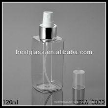 квадратной формы 120 мл ПЭТ-бутылки/ косметические бутылки/ пластиковые бутылки с распылителем и пластиковой крышкой