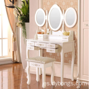 Girls modern makeup dressing table with 3 mirrors
