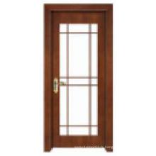 Design classique simple avec fenêtre en verre Porte en bois massif