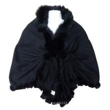 Xaile de malha de lã preto de moda senhora (yky4142-1)