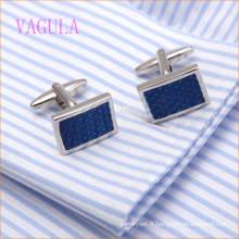 VAGULA Fashion Rhodium Plaqué Cuivre Bleu Peinture Rond Bouton de Manchette