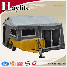 galvanized camper trailer with canvas tent