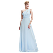 Starzz One Shoulder Chiffon Long Light Blue Formal Bridesmaid Dress Patterns ST000071-2