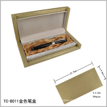 Heavy Golden Laser Engraved Logo Pen Set Box Elegant Gold Box