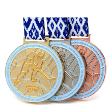 Wholesale Custom 3D Gold Silver Russia Hockey Ball Game Metal Souvenir Sport Award Medal With Flag Color Ribbon