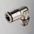 Nickel-Plated Brass Push-to-Connect Fitting, Swivel ,90 Degree Elbow.