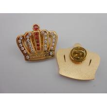 Gold Crown Lapiel Pins, insignias de metal con diamantes (GZHY-BADGE-020)